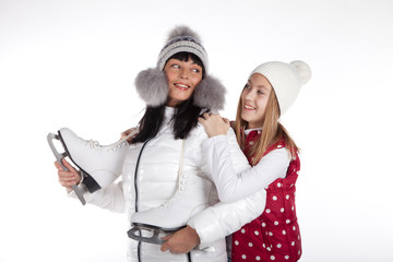 mother and daughter with skates