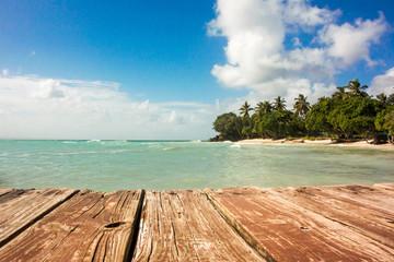 Blick von Bootssteg auf karibische Landschaft
