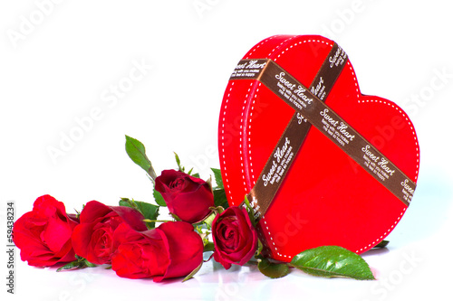 red rose with a heart box