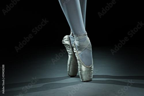 canvas print picture Ballet dancer shoes - gold