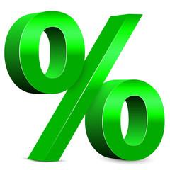 Rabatt – Grünes Prozentzeichen, 3d, Prozent, Icon, Zeichen