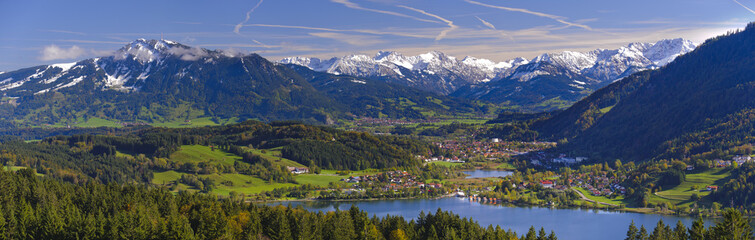 panorama landscape and alps mountains in Bavaria