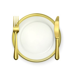 Gold dinner place setting, vector