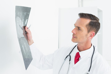 Concentrated male doctor examining x-ray