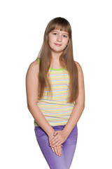 Preteen girl on the white background