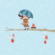 Rainy Christmas Rudolph Blue