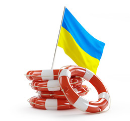Life Buoy flags of Ukraine