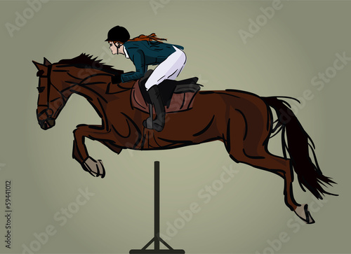 horse and jockey jumping, isolated image