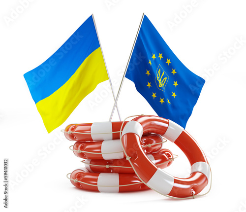 flags of Ukraine and Europe help