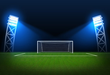 Sports background - Soccer stadium, arena in night illuminated b