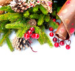 Christmas Holiday Decorations Isolated on White