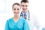 Female nurse and male doctor