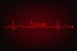 Cardiogram of love. Cardiogram line forming word 'love'
