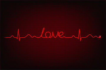 Cardiogram of love. Cardiogram line forming word 'love'