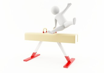 3D gymnast on a pommel horse