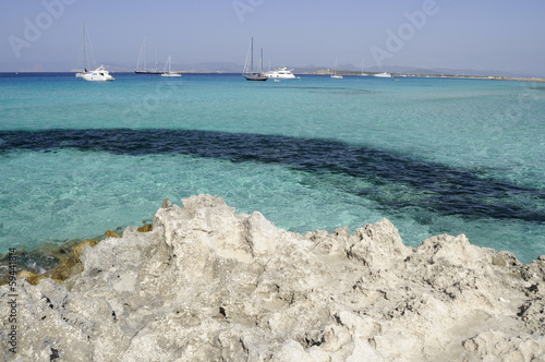 Colorful sea of Formentera