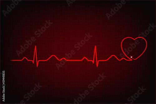 Cardiogram line forming heart shape