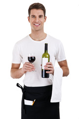 Portrait of a waiter holding a waine bottle