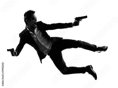 asian gunman killer jumping shooting  silhouette