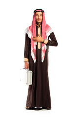 Young arab with a aluminum case isolated on white