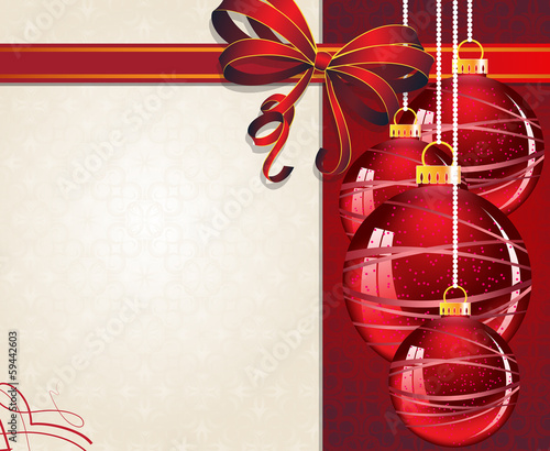 Christmas ornaments with red bow