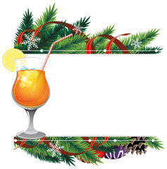 Cocktail and pine branches