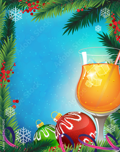 Orange cocktail on a winter background