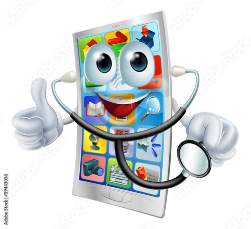 Cell phone man holding a stethoscope