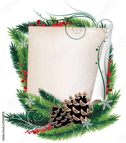 Scroll paper and Christmas wreath