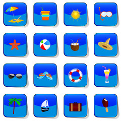 beach icon color vector
