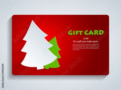 Christmas Gift Card with Christmas Tree