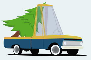 funny cartoon pickup truck with christmas tree