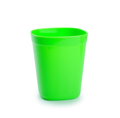 green Plastic Cup isolated on white background