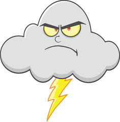 Angry Cloud With Lightning Cartoon Character.