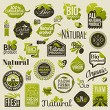 Natural organic product labels and emblems. Set of vectors