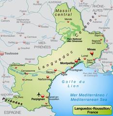 Umgebungskarte von Languedoc-Roussillon