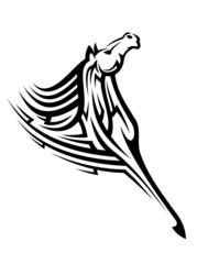 Black tribal horse mascot