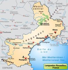 Languedoc-Roussillon als Übersichtskarte