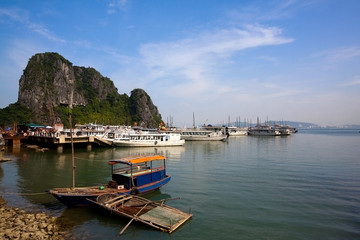 Tourist junks in Halong Bay, Vietnam, Southeast Asia - Unesco Wo