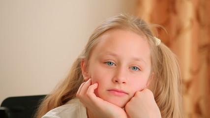 Thinking caucasian girl