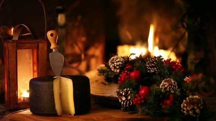 Christmas Snack In Front Of The Fireplace