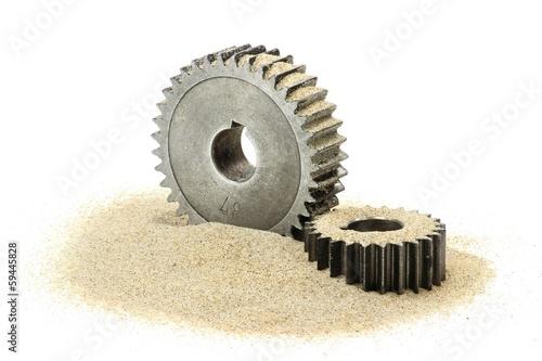Leinwanddruck Bild Sand im Getriebe