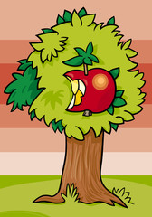 nibbled apple on tree cartoon illustration