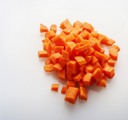 cut carrot on white background