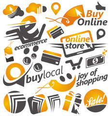 Set of shopping icons, signs and symbols