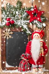 Christmas greeting card or wish list. Vintage blackboard.