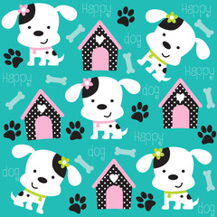 happy dog pattern with paw print and bone vector illustration