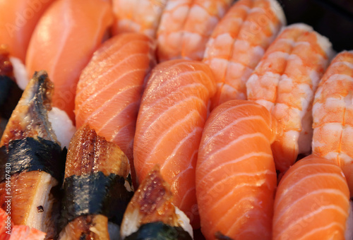 background of various kind of sushi