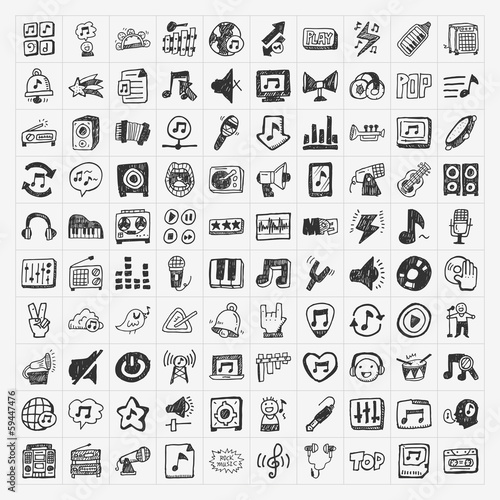 doodle music icons set