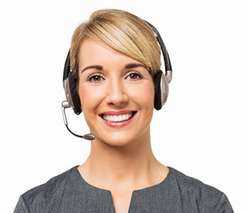 Happy Call Center Representative Wearing Headset